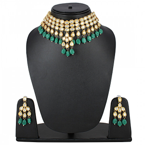 Green Kundan Metal Necklace With Earrings Set
