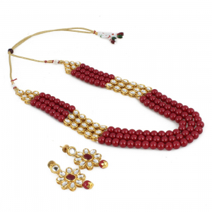 Three Layer Gold Plated Maroon Kundan Necklace Set with Earrings