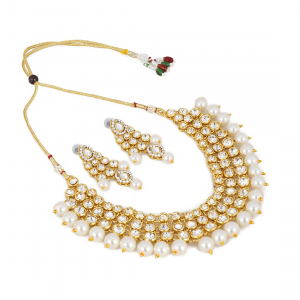 Traditional Designer Gold Plated Kundan Necklace Set with Earrings and Maang Tikka