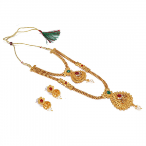 Enchanting Red & Green Kundan Gold Plated Opera Style Necklace Set