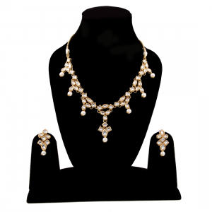 Designer Pearl Gold Plated Kundan Necklace Set