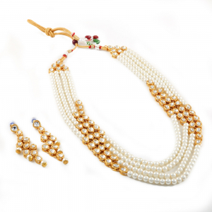 Designer Four Layer Pearl Kundan Necklace Set