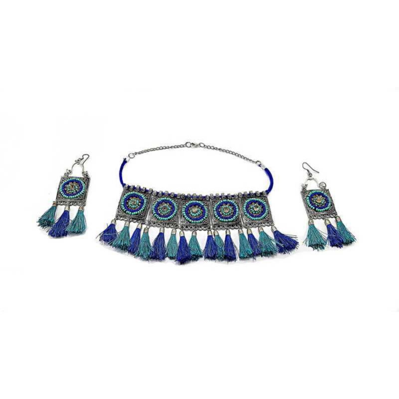 Afghani Boho Handcrafted Tassels Oxidized Silver Necklace Set