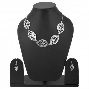 Designer Oxidized Leaf Design German Silver Necklace Set