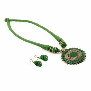 Green Color Designer Tibetan Style Fashion Necklace set