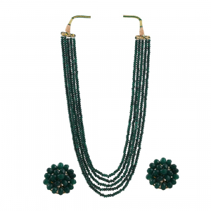 Five Layer Green Crystal Beads Necklace With Earrings