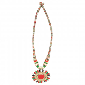 Multicolor Fabric Necklace With Earring Set