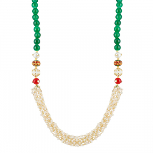 Designer Handmade Tulsi Mala and Red Stone Beads Necklace