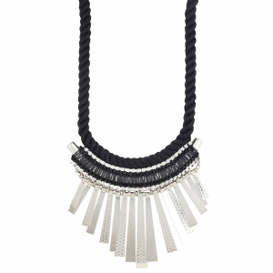 Designer Statement Black and Silver Necklace