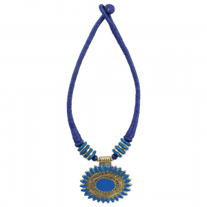 Blue Thread Oxidized Pendant Fashion Necklace