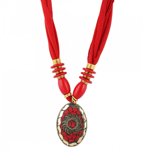 Red Color Designer Tibetan Style Necklace