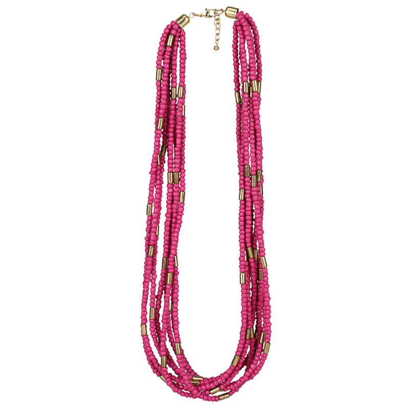 Designer Multi Layer Pink Beads Necklace