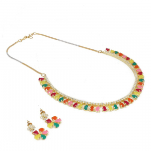 Designer Multi Colour Diamond Gold Plated Necklace Set with Earrings