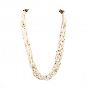 Beige and Green Tulsi Beads Necklace