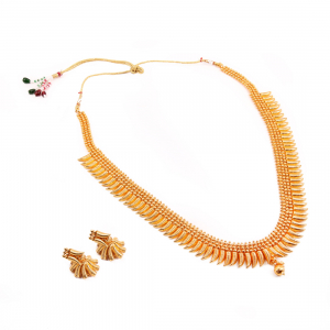 Designer Traditional Copper Long Gold Plated Necklace Set