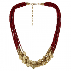 Red and Golden Beads Fashion Necklace