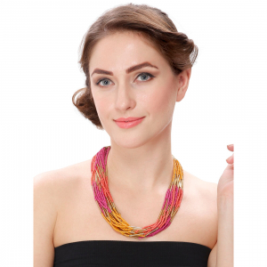 Designer Elegant Multi Layer Multi Color Beads Necklace