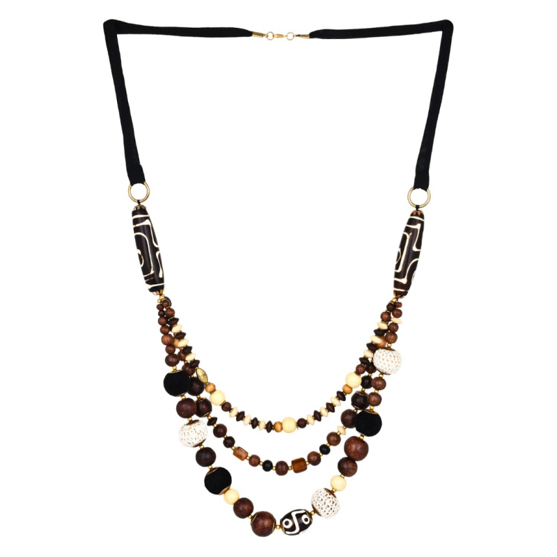 Designer Tibetan Style Brown Beads Necklace