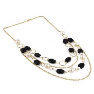 Multi Layer Black and White Beads Fancy Necklace