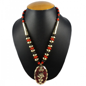 Designer Red and Black Tibetan Style Beads Necklace