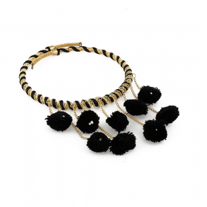 Designer Pompom Black Stylish Fashion Necklace