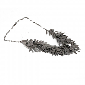 Designer Silver Oxidized Leaf Fashion Necklace