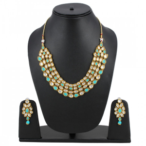 Blue Aquamarine Firoji Gold Plated Kundan Necklace with Earrings