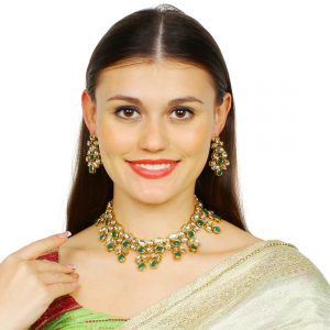 Designer Inspired Green Kundan Necklace Set With Earrings