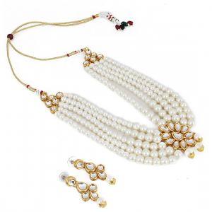 Traditional Gold Plated White 5 Layer Kundan Necklace Set with Earrings