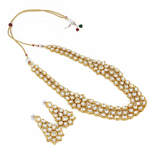 Designer Elegant Gold Plated Kundan Necklace Set with Earrings