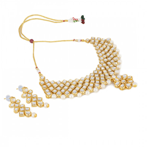Gold Plated Traditional Kundan and Beads Choker Necklace Set with Earrings