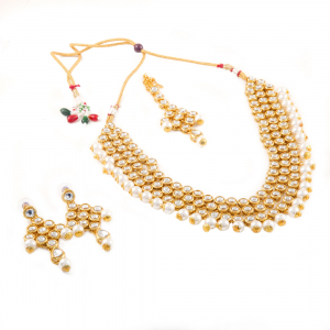 Designer Pearl Kundan Necklace Set with Earrings