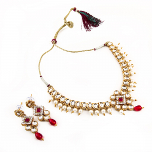 Traditional Designer Gold Plated Kundan Necklace Set with Earrings