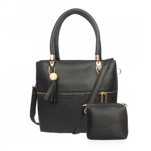 Generic Women's Faux Synthetic Leather Satchel Bag (Black)