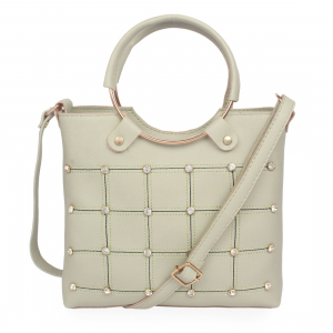 Generic Women's Faux Synthetic Leather Satchel Bag (Beige)
