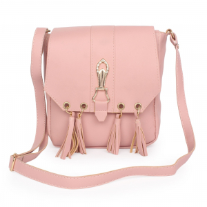 Generic Women's Faux Synthetic Leather Sling Bag (Pink)