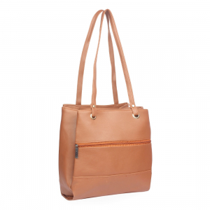 Generic Women's Faux Synthetic Leather Satchel Bag (Tan)