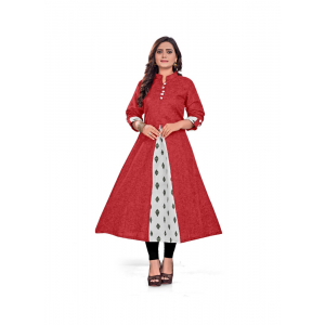 Generic Women's Khadi, Cotton Long Gown (Red)