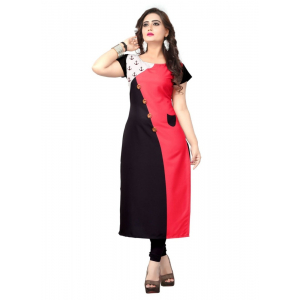 Generic Women's American Crepe  Kurti (Black and Red)