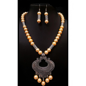 Generic Pearl And Copper, Peach Color Jewellery set for Women