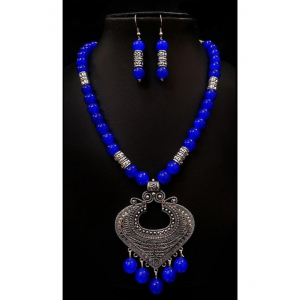 Generic Pearl And Copper, Navy Blue Color Jewellery set for Women