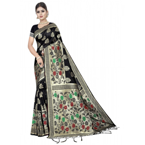 Generic Women's Kota Banarasi Silk Saree with Blouse (Black,5-6 mtrs)