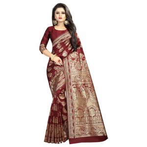 Generic Women's Kota Banarasi Silk Saree with Blouse (Maroon,5-6 mtrs)