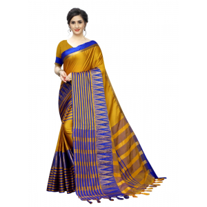 Generic Women's Polyster Cotton Saree with Blouse (MustardBlue,5-6 mtrs)