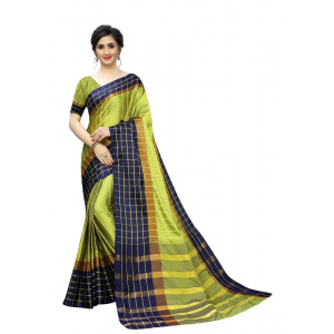 Generic Women's Polyster Cotton Saree with Blouse (Blue,5-6 mtrs)