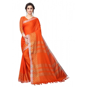 Generic Women's Linen Cotton Blend Saree with Blouse (Orange,5-6 mtrs)