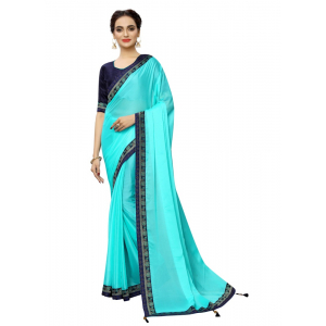 Generic Women's Rangoli Silk Saree with Blouse (SkyBlue,5-6 mtrs)