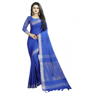 Generic Women's Linen Cotton Blend Saree with Blouse (SilverBlue,5-6 mtrs)