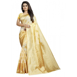 Generic Women's Kota Banarasi Silk Saree with Blouse (OffWhite,5-6 mtrs)