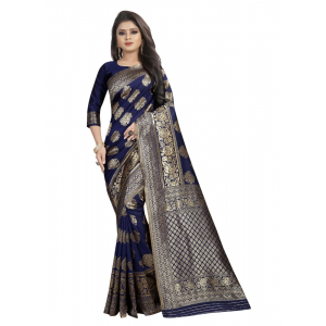Generic Women's Kota Banarasi Silk Saree with Blouse (NavyBlue,5-6 mtrs)